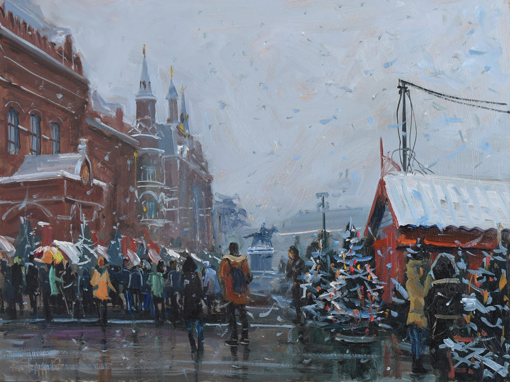 Revolution square. View of the historical museum. 25.02.17<br>40х30 cm.<br>