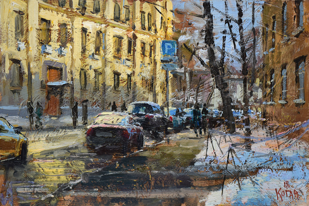 The March evening. Moscow. 2018<br>30x20 cm.<br>